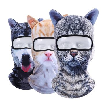3D Cat Animal Ear Balaclava Combat Bicycle Hunting Hats Snowboard Cap Party Halloween Winter Sun Full Face Mask For Women Men