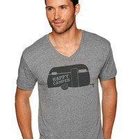 Happy Camper Gray V-Neck Tee