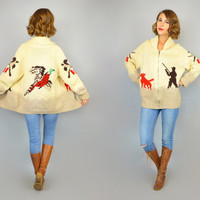 PHEASANT HUNT vtg 50's dog game hunter gun woodland COWICHAN knit sweater jacket, extra small-small