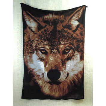 "80s 90s Vintage Fleece Wolf Blanket // 64"" X 45"""