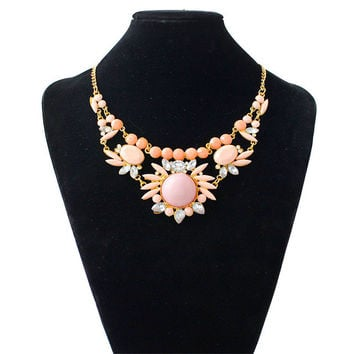 1PC High Qulity Fashion Charm Pendant Chain Crystal Jewelry Flower Choker Hot Sale Chunky Statement Bib Necklace