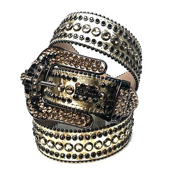 B.B. Simon Golden Crown Croco Swarovski Crystal Belt