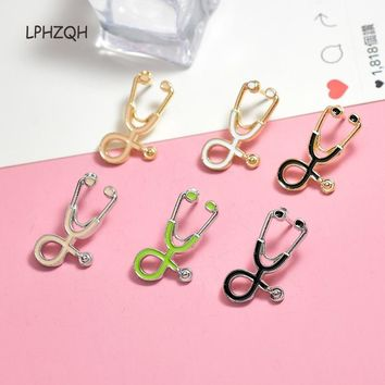 Stethoscope Brooch Pins Gold Silver Black Collar Corsage Gift for Doctors Nurse Physicians Medical Student Graduation B-0716