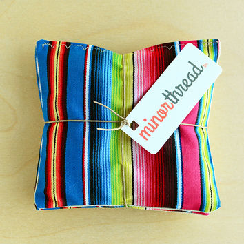 Contemporary Rainbow Serape Cotton & Natural Linen Organic Lavender Sachet Set Handmade Hostess Gift - 2 Sachets