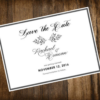 Save the Date Calligraphy Handwritten Black and White Customisable