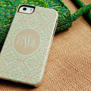 Monogrammed Gold and Mint iPhone 5S Case, Mint Green and Gold Boho iPhone 4 Case, Bohemian iPhone 5, Personalized iPhone 5C Case