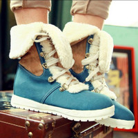 Womens frosted Lace up fleece lining winter warm snow boots shoes spell color