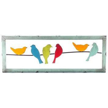 Colorful 6-Birds on a Wire Metal Wall Decor | Hobby Lobby