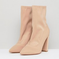 ASOS BASICALLY Wide Fit Pointed Sock Boots at asos.com