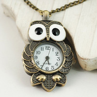 Cute Big Eyes Owl Pendant Watch with Necklace