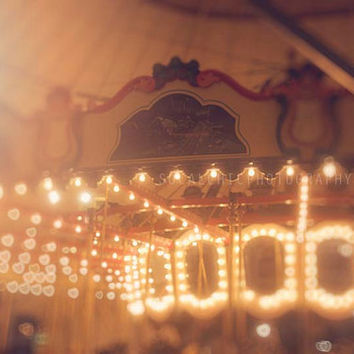 Beach Photography Santa Monica Pier Merry Go Round Heart Bokeh Nursery Art Los Angeles California