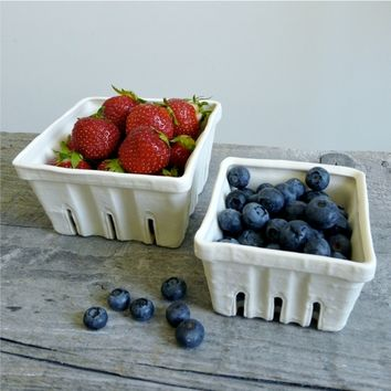 Supermarket: Porcelain Berry Basket, Ceramic Fruit Colander Size Small from Revisions Design Studio