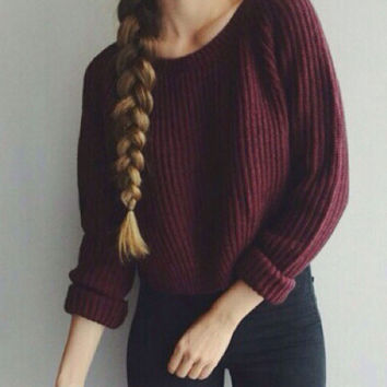 Knitted Long Sleeve Casual Crop Sweater