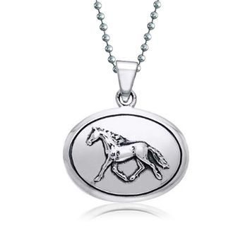 Horse Equestrian Oval Medallion Pendant Necklace 925 Sterling Silver