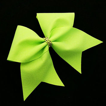 Cheer bow, neon green cheer bow, glitter cheer bow, cheerleading bow, cheerleader bow, softball bow, rec cheer bow, practace cheer bow