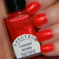CHERRY BOMB Red Nail Polish with Gold Shimmer