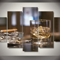 Cigar And Bourbon 5-Piece Wall Art Canvas