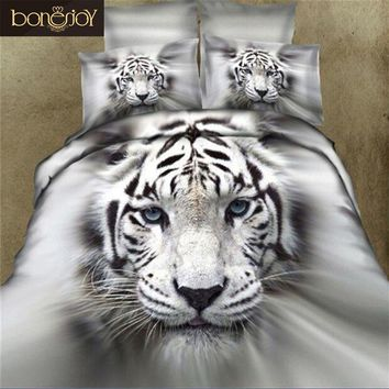 3D Animal Print Bedding Sets Queen Size 4pcs 3D Tiger Bed Sheet Quilt Cover Bed Linen China 2017 White Black Color Duvet Covers