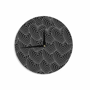 "julia grifol ""Crazy Love"" Black White Geometric Pattern Vector Digital Wall Clock"