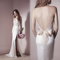 Don's Sexy Spaghetti Straps Backless Sleeveless Chiffon Wedding Dresses High Slit White Ivory Lace Beach Bridal Gowns
