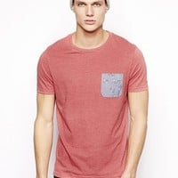 ASOS T-Shirt With Floral Print Oxford Pocket