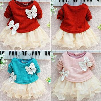 Tulle Baby Girls Dress Clothes Long Sleeve Knitted Bow Infants Newborn Children Clothing Girls Dresses Tutu Princess Dress