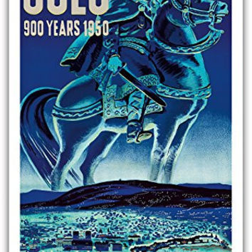 Oslo, Norway - 900 Years 1950 - Viking on Icelandic Horse - Vintage World Travel Poster by A.O. Brunn c.1950 - Master Art Print - 12in x 18in