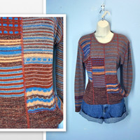 Vintage 1970s Sweater / Retro Earth Tone 70s Sweater