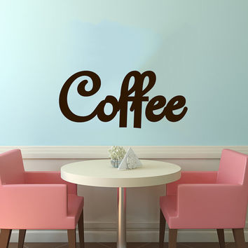 Coffee Logo Sign Wall Vinyl Decal Art Murals Design Interior Modern Cafe Dining Room Kitchen Coffee Shop Decor Sticker SV4687