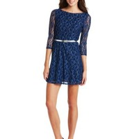 As U Wish Juniors Lace Skater Dress With Belt