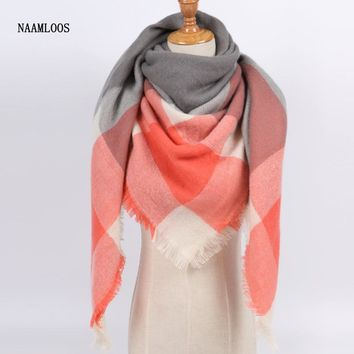Luxury Brand Scarf for Women Warm Soft Cashmere in Plaid Square Shawls