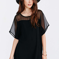 Black Mesh Top Chiffon Loose Shirt