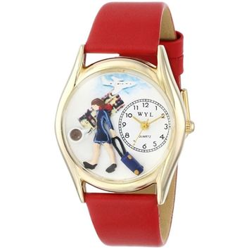 SheilaShrubs.com: Women's Flight Attendant Red Leather Watch C-0630004 by Whimsical Watches: Watches
