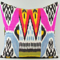 FACEBOOK GIVEAWAY 16x16 pink Ikat pillow- decorative pillow covers - throw pillows - pink pillow SPI101-10