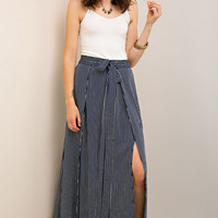 Side Slits Striped Maxi Skirt