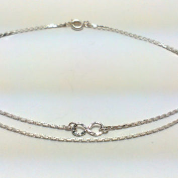 Infinity anklet, silver plated anklet, ankle bracelet hammered, double wire infinity, summer, holiday, beach, pool, summer accessories, gift