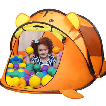 Portable Tiger Children's Tent Cartoon Animal Kids Play House Outdoors Large Pop Up Toy Tents Indoor Nets Infant Ball Pool Pit