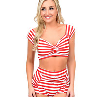 Vintage Style Red & White Stripe Cap Sleeve High Waist Swimsuit
