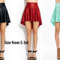 Leather Black MINT Trendy Dance Party Casual High-Low cut Skater Skirt S/M/L