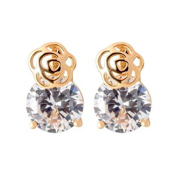 Clear Cubic Zirconia Roses Flowers Stud Small Earrings in 16K Gold Plated