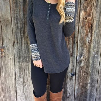 Gray Print Cuff  Long Sleeve Shirt