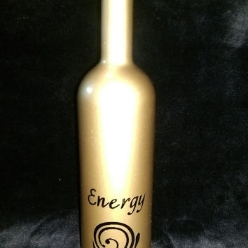 Decorative Decanter / Painted Bottle / Bar Decor/ barware / Repurposed Wine/ Liquor Bottles  / Great Gifts - You need a shot of ENERGY!