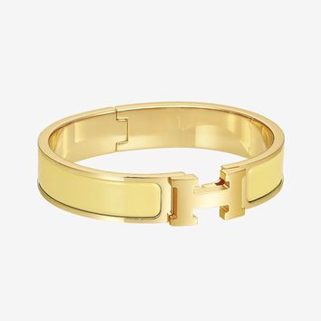 Auth HERMES The H Bracelet Bangle Click Clack Yellow Gold Tone size pm