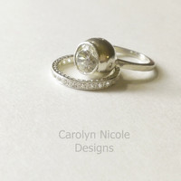 14k White Gold Bubble Bezel Ring by Carolyn Nicole Designs