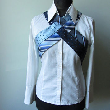 Steampunk Harness from Repurposed Neckties, Upcycled Recycled Clothing, Necktie Harness, Blue Necktie Vest, Necktie Waistcoat, Hipster Tops