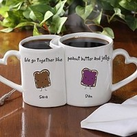 Romantic Personalized Coffee Mug Set - Like Peanut Butter & Jelly