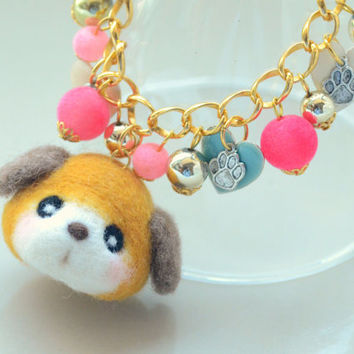 Handmade puppy doll bag charm, needle felted dog charm, wool soft sculpture beagle doll, handbag accessories, gift under 25
