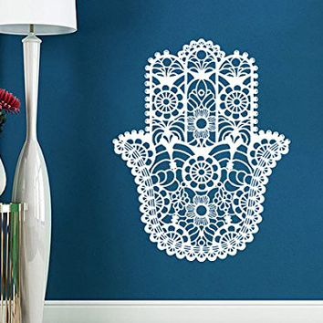 Hamsa Hand Wall Decal Yoga Fatima Vinyl Sticker Decals Yoga Namaste Indian Ornament Moroccan Pattern Home Decor Bedroom Dorm NV83