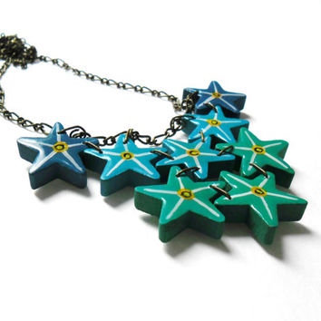 Ombre Turquoise Star Necklace - Hand Painted Jewelry - Aquamarine Star Wooden Necklace,  - Lightweight Necklaces Ombre Star Pendants