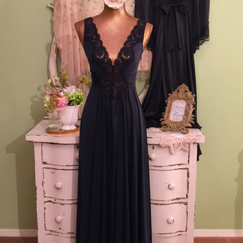 Romantic Nightie Set, Black Lace Nightgown & Robe, Vintage Lingerie, Hollywood Glam, Elegant Peignoir, Long Nightdress Set, Small/Medium